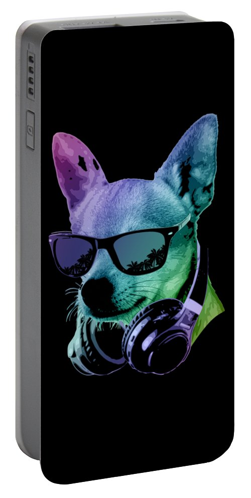 Dog Portable Battery Charger featuring the digital art DJ Chihuahua by Filip Schpindel