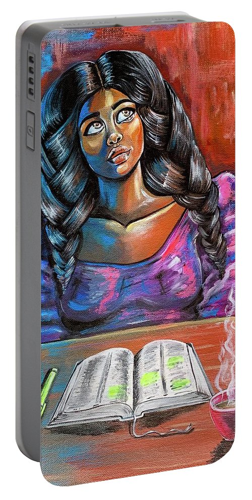 Prayer Portable Battery Charger featuring the painting Do I make you proud by Artist RiA