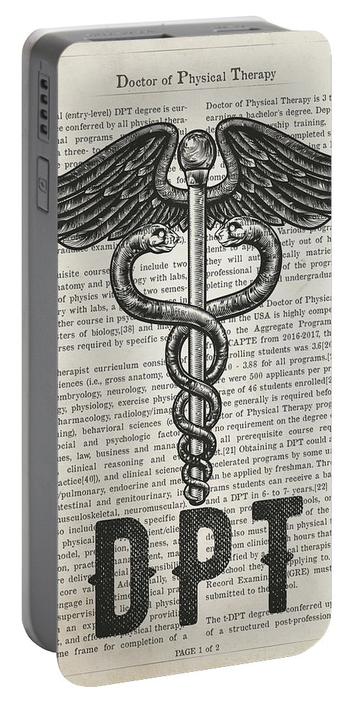 Dpt Portable Battery Charger featuring the digital art Doctor Of Physical Therapy Gift Idea With Caduceus Illustration by Aged Pixel