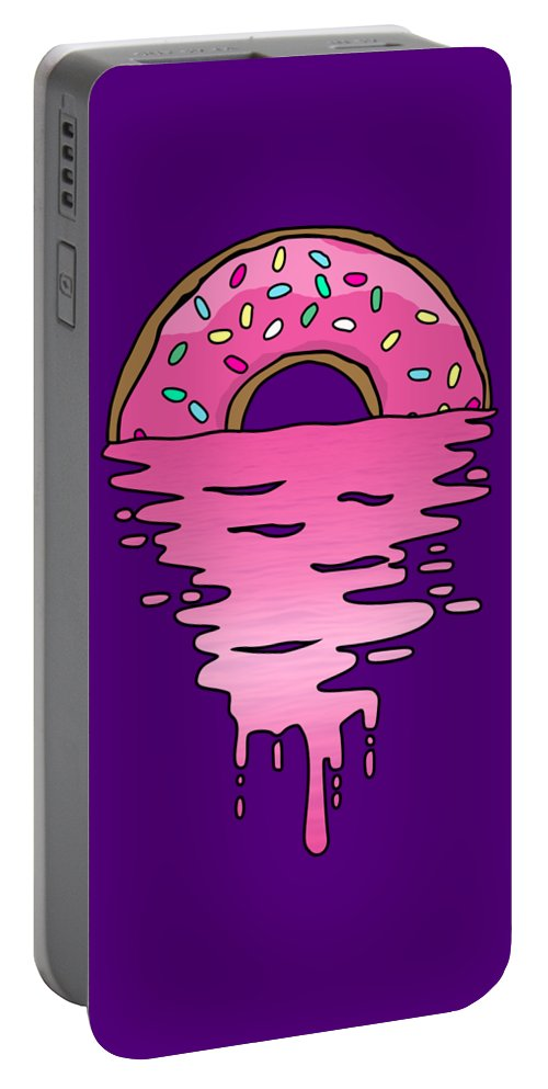 Lemon Portable Battery Charger featuring the digital art Donut Sunset by Filip Schpindel
