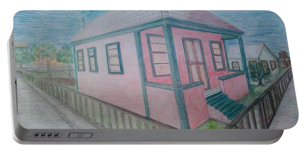 Drawing By Andrew Johnson Portable Battery Charger featuring the drawing Dream Cottage by Andrew Johnson