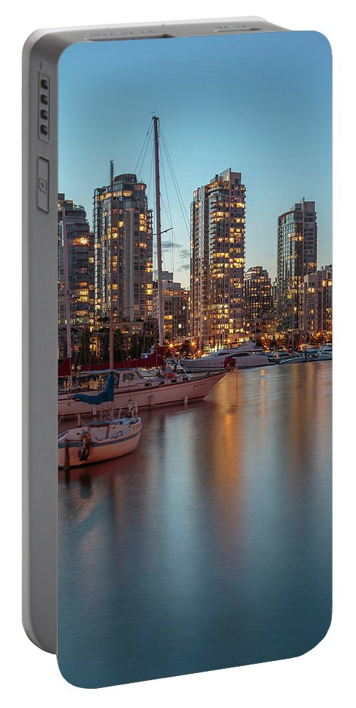 3scape Portable Battery Charger featuring the photograph Dusk Over Vancouver Waterfront by Adam Romanowicz