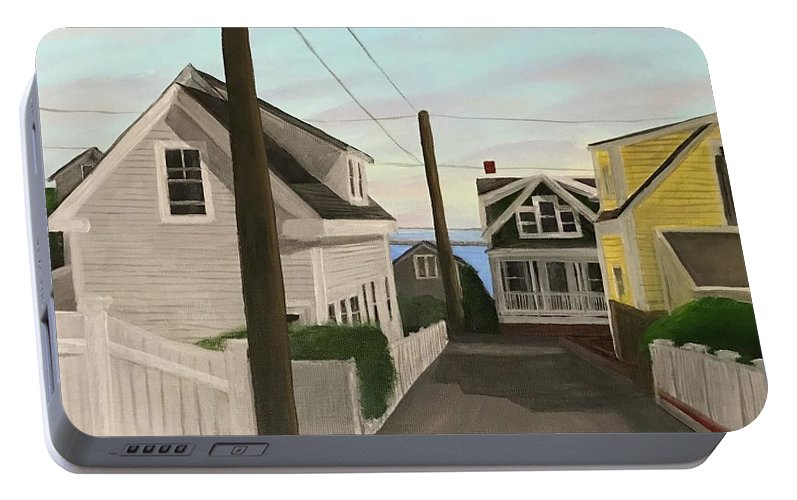 Provincetown Portable Battery Charger featuring the painting Dyer Street by Derek Macara