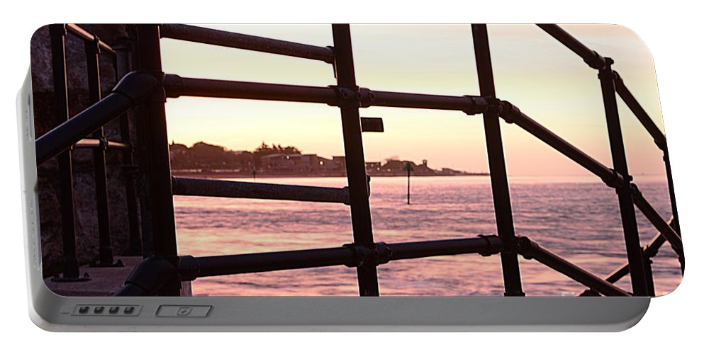 Railings Portable Battery Charger featuring the photograph Early Morning Railings by Andy Thompson