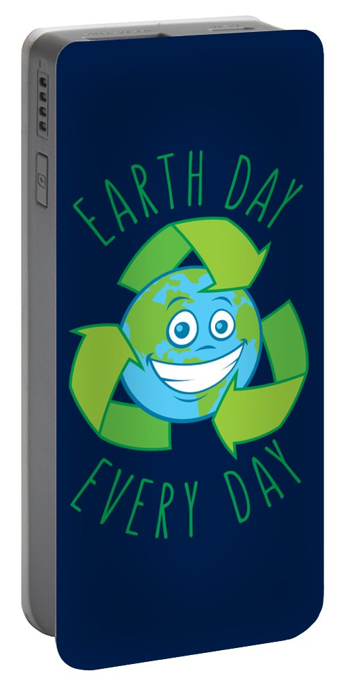 Green Portable Battery Charger featuring the digital art Earth Day Every Day Recycle Cartoon by John Schwegel
