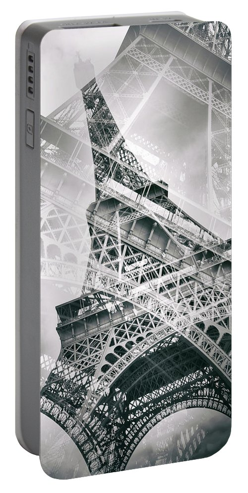 Europe Portable Battery Charger featuring the photograph Eiffel Tower Double Exposure - Panorama by Melanie Viola