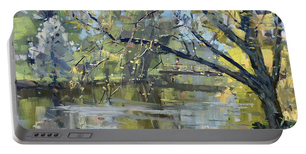 Ellicott Creek Portable Battery Charger featuring the painting Ellicott Creek Park by Ylli Haruni