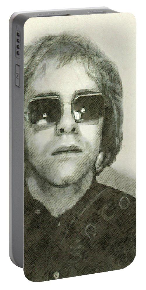 Elton Portable Battery Charger featuring the digital art Elton John Passport Photo 1972 by Daniel Hagerman