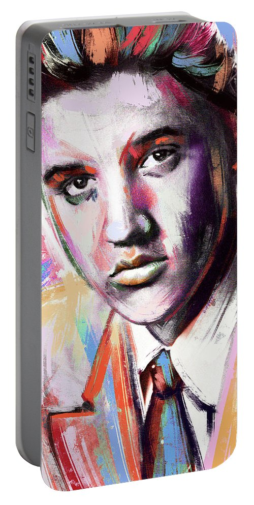 Elvis Portable Battery Charger featuring the painting Elvis Presley painting by Stars on Art