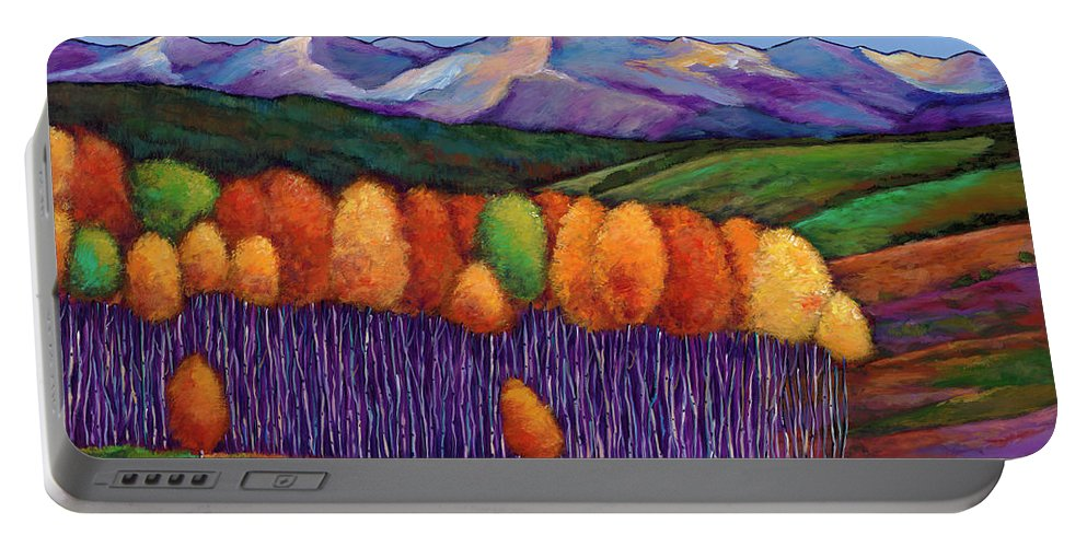 Aspen Trees Portable Battery Charger featuring the painting Elysian by Johnathan Harris