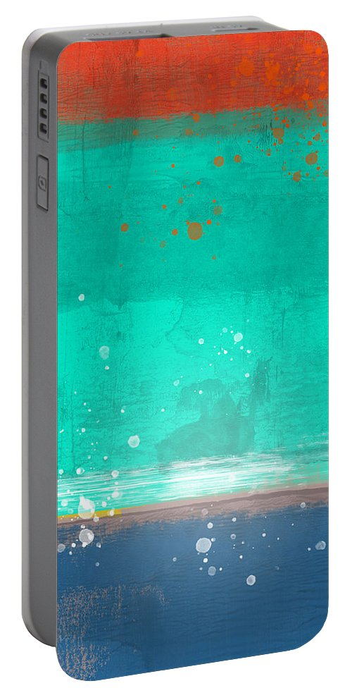 Minimalist And Tasteful Collection Of Abstract Art. At Its Basis This Artwork Is About Exploration Of Color Portable Battery Charger featuring the painting Emerald And Blue Abstract Study by Naxart Studio