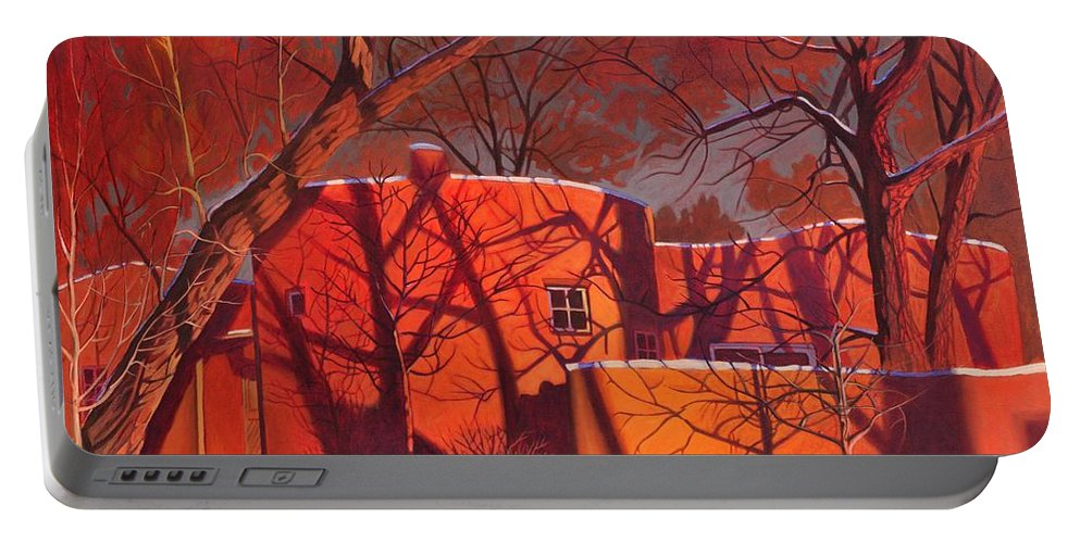 Taos Portable Battery Charger featuring the painting Evening Shadows On A Round Taos House by Art West