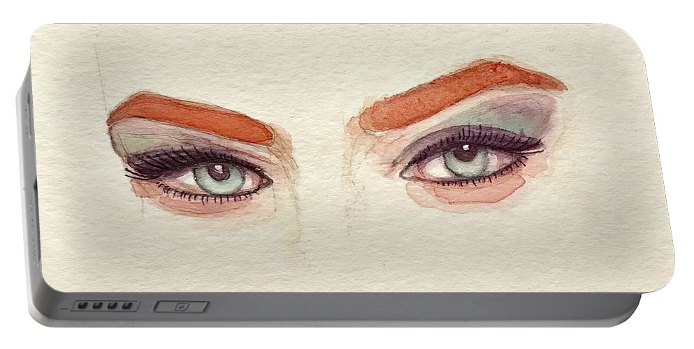 Eye Portable Battery Charger featuring the painting Makeup Art Painting by Mahsa Watercolor Artist