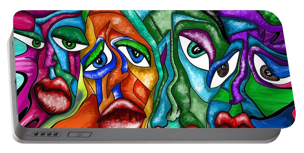 Faces Portable Battery Charger featuring the painting Faces - Abstract Painting Fluid Painting by Patricia Piotrak