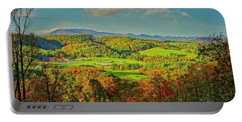 Mount Jefferson Portable Battery Charger featuring the photograph Fall Porch View by Meta Gatschenberger