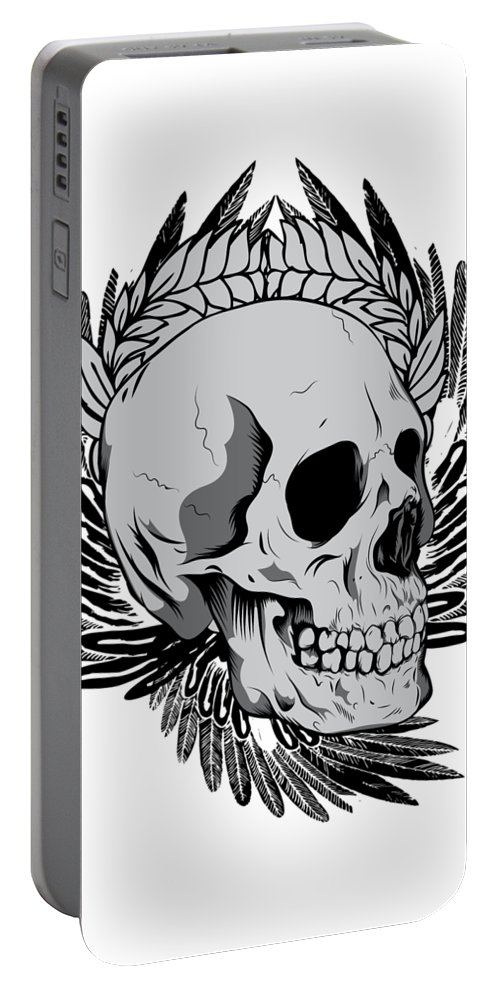 Halloween Portable Battery Charger featuring the digital art Feathered Skull by Passion Loft