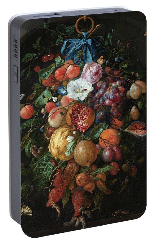 Jan Davidsz De Heem Portable Battery Charger featuring the painting Festoon Of Fruit And Flowers, 1670 by Jan Davidsz de Heem