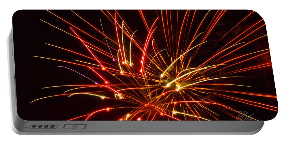 Fireworks Portable Battery Charger featuring the photograph Fireworks Electricity by Meta Gatschenberger