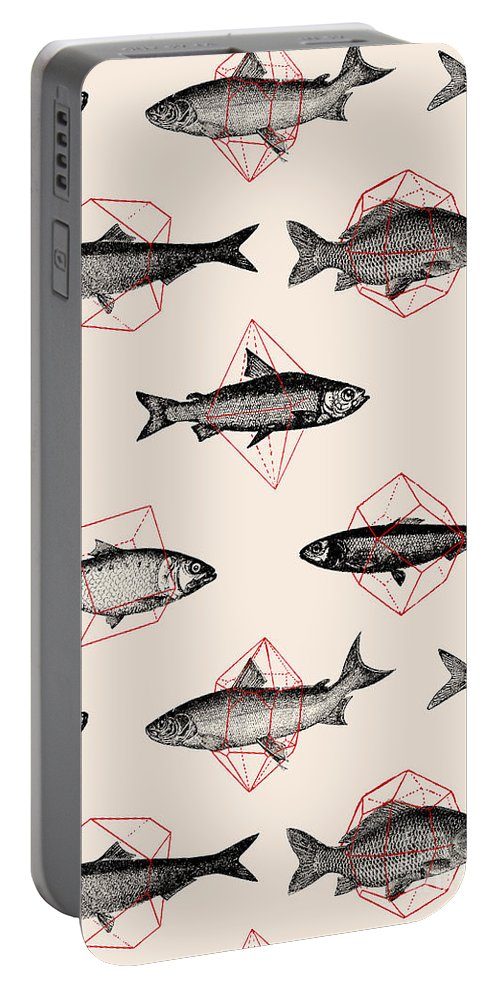 Fish Portable Battery Charger featuring the digital art Fishes In Geometrics by Florent Bodart