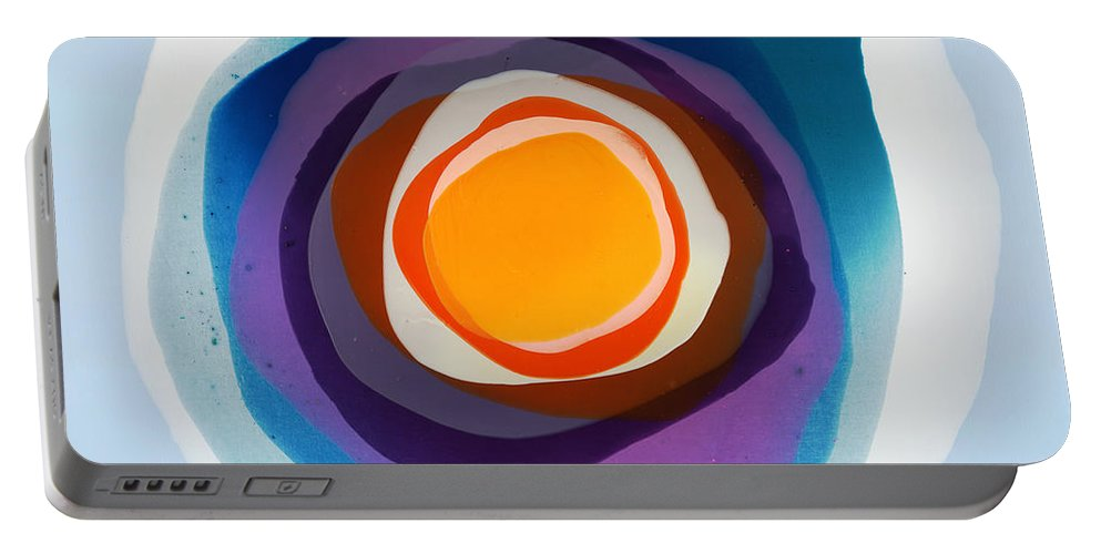 Abstract Portable Battery Charger featuring the painting Focussed by Claire Desjardins