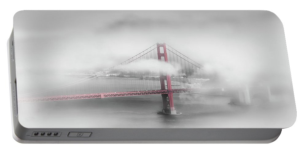 America Portable Battery Charger featuring the photograph Foggy Golden Gate Bridge - Colorkey by Melanie Viola