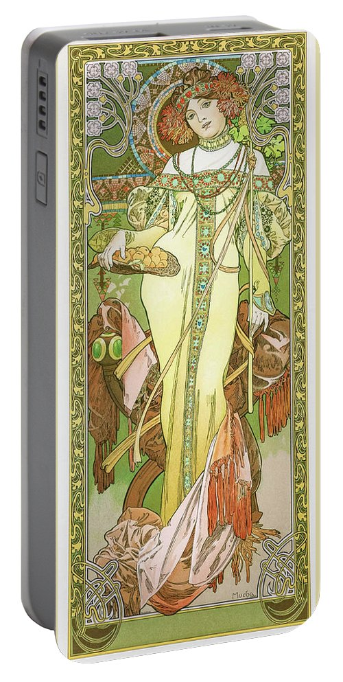 Alfons Maria Mucha Portable Battery Charger featuring the painting Four Seasons, Autumn - Digital Remastered Edition by Alfons Maria Mucha