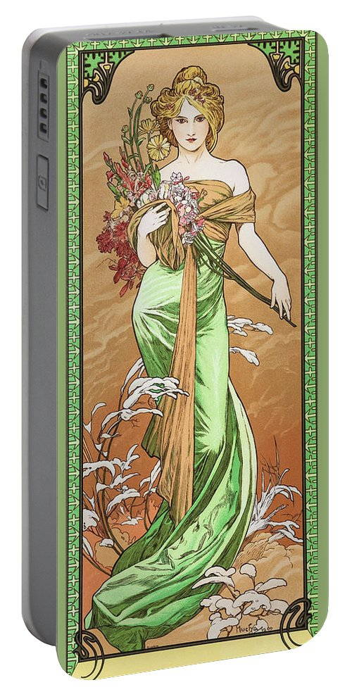 Alfons Maria Mucha Portable Battery Charger featuring the painting Four Seasons, Spring - Digital Remastered Edition by Alfons Maria Mucha