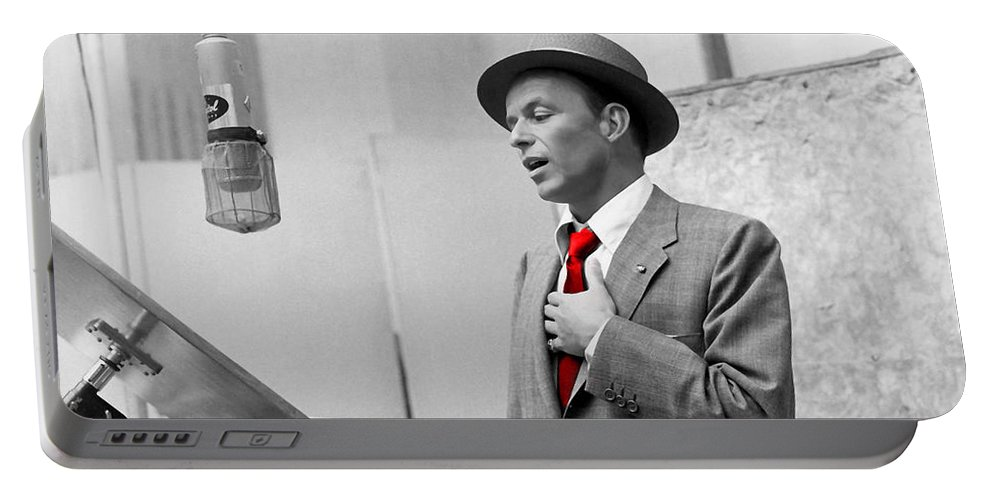 Frank Sinatra Portable Battery Charger featuring the mixed media Frank Sinatra Painting by Marvin Blaine