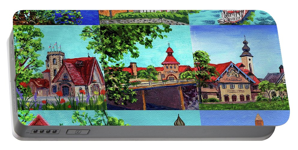 Frankenmuth Portable Battery Charger featuring the painting Frankenmuth Downtown Michigan Painting Collage II by Irina Sztukowski
