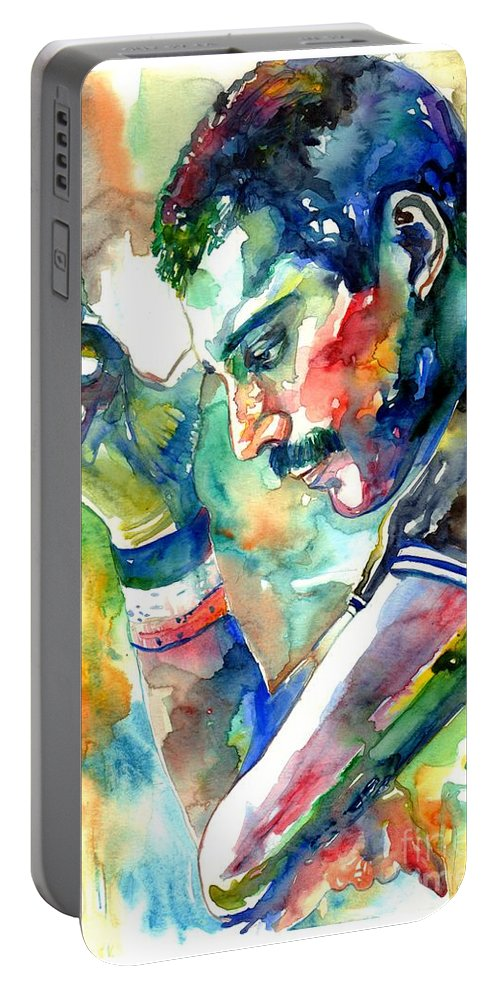 Freddie Mercury Portable Battery Charger featuring the painting Freddie Mercury With Cigarette by Suzann Sines
