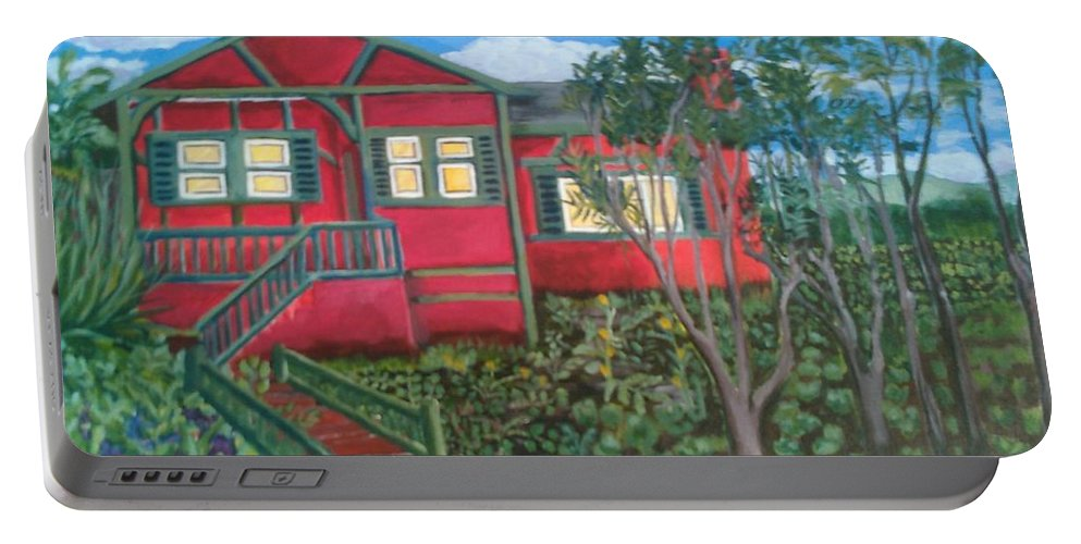 Painting Of House Portable Battery Charger featuring the painting Fresh yard by Andrew Johnson