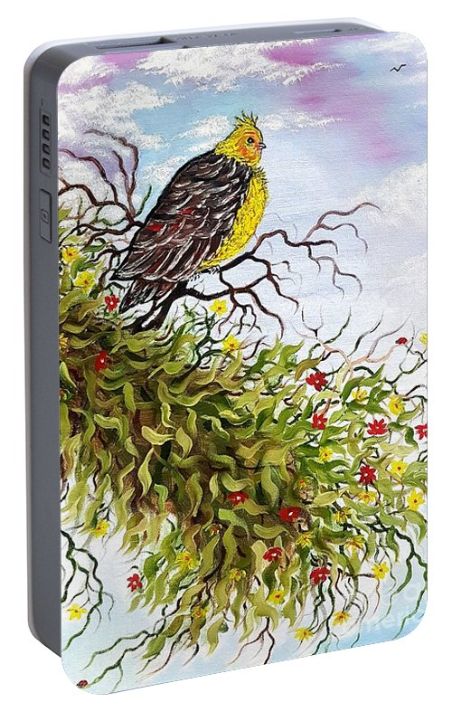 Bird Portable Battery Charger featuring the painting Friendly Bird Called Tweet by Angela Whitehouse
