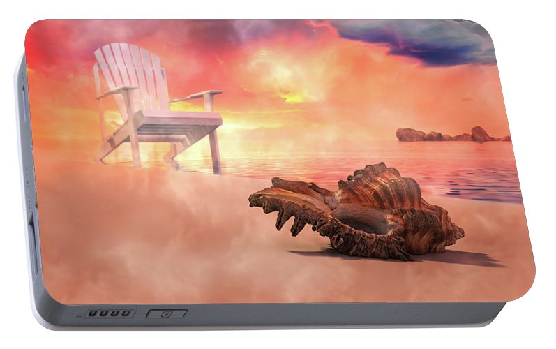 Beach Portable Battery Charger featuring the digital art Friends By The Sea 3d Render by Betsy Knapp