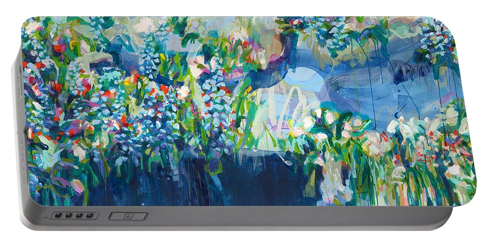 Abstract Portable Battery Charger featuring the painting Full Bloom by Claire Desjardins