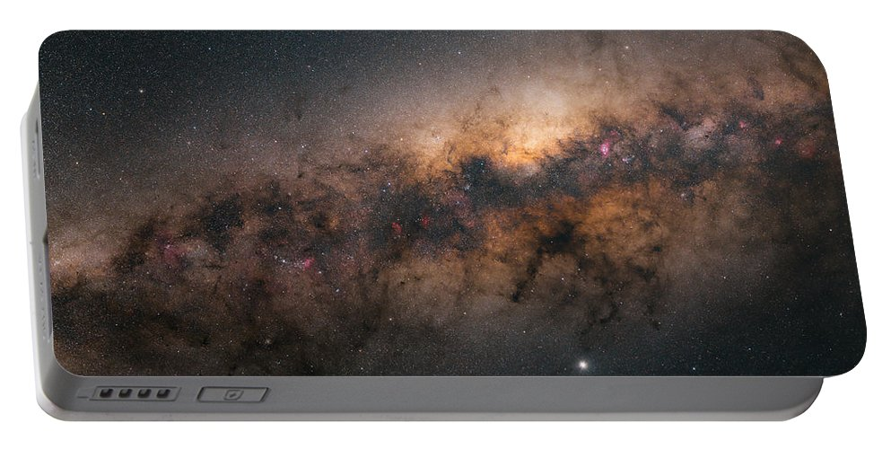 Stars Portable Battery Charger featuring the photograph Galactic Core by Bartosz Wojczynski
