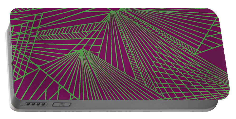 Geometric Patterns Portable Battery Charger featuring the painting Geometric Pattern 3-colour-5 by Katerina Stamatelos