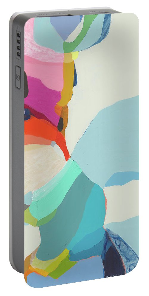 Abstract Portable Battery Charger featuring the painting Georgia To My Left by Claire Desjardins