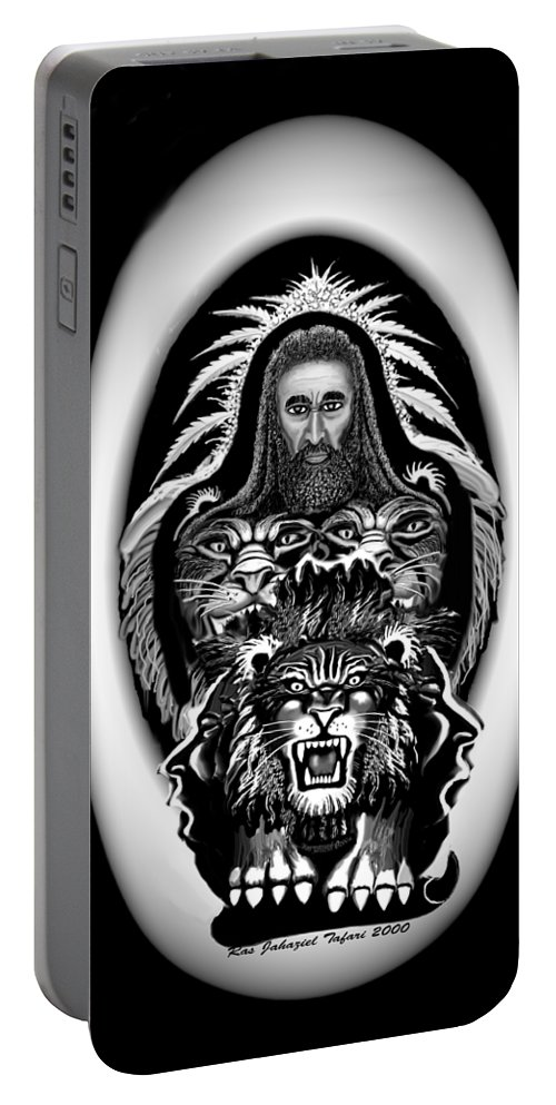 Pastel Chalk Portable Battery Charger featuring the drawing Give Us The Truth 2 by Ras Tafari