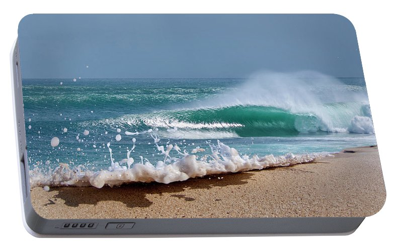 Sea Portable Battery Charger featuring the photograph Glitter Foam by Sean Davey