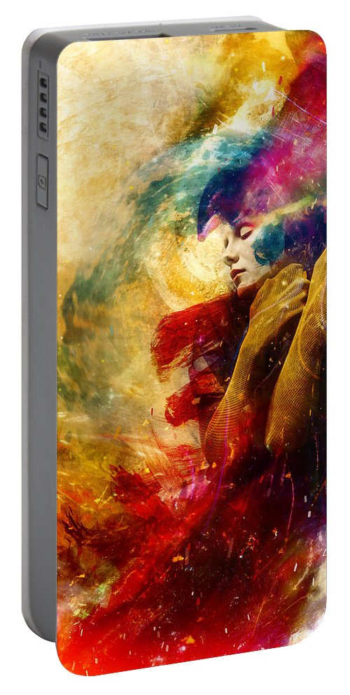 Surreal Portable Battery Charger featuring the digital art Golden Gloom by Mario Sanchez Nevado