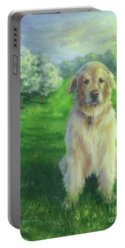Golden Retriever Portable Battery Charger featuring the painting Golden Retriever by Nicole Troup