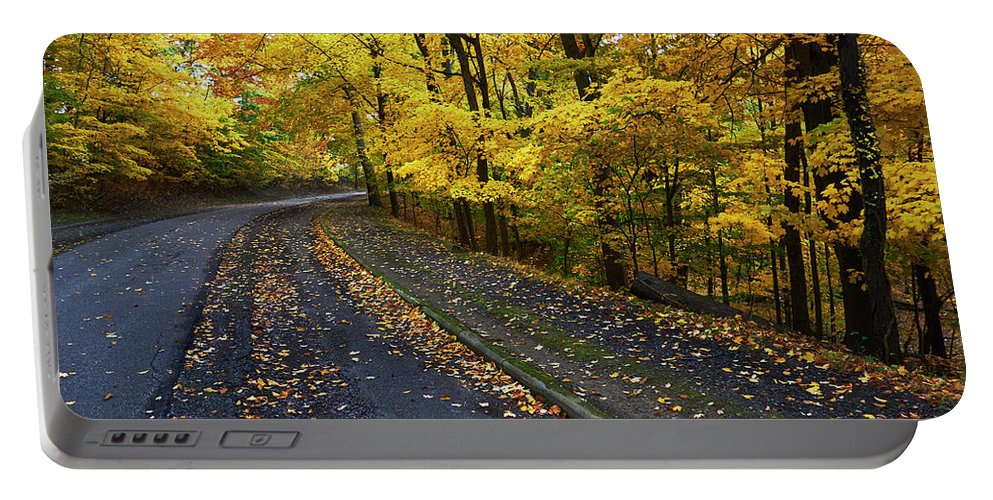 Autumn Portable Battery Charger featuring the photograph Golden Road by Steve Ondrus