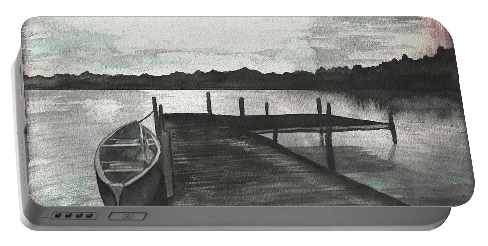 Gray Portable Battery Charger featuring the mixed media Gray Morning On The Lake by Elizabeth Medley