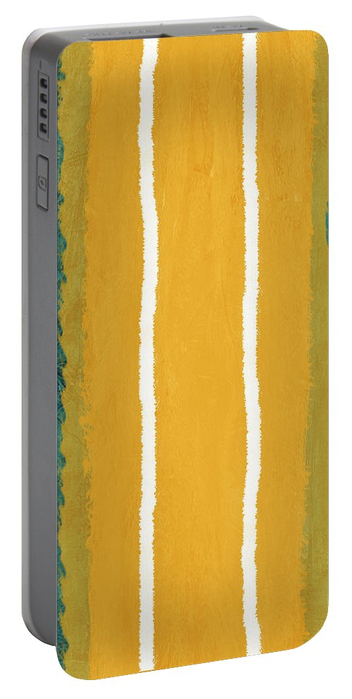 Abstract Portable Battery Charger featuring the painting Green And Yellow Abstract Theme II by Naxart Studio