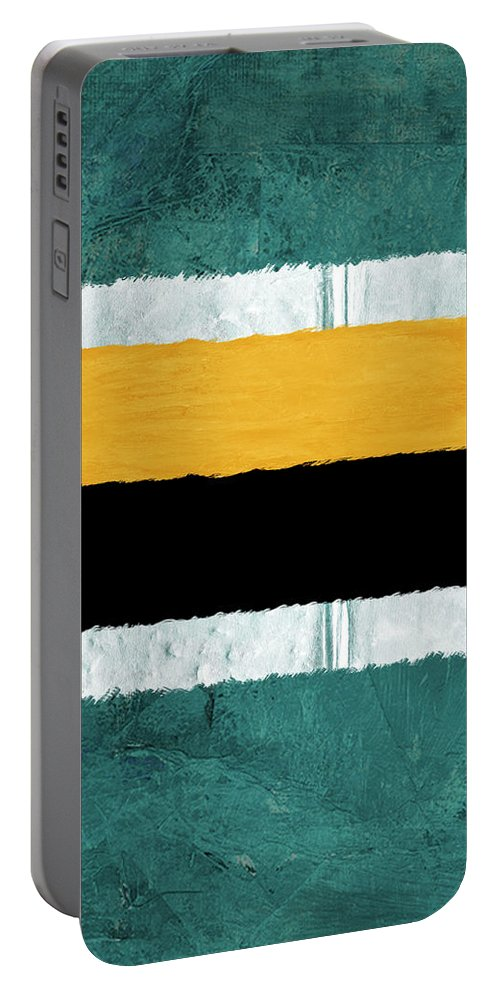 Abstract Portable Battery Charger featuring the painting Green And Yellow Abstract Theme V by Naxart Studio