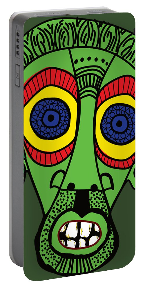 Green Portable Battery Charger featuring the digital art Green Boy by Patricia Piotrak