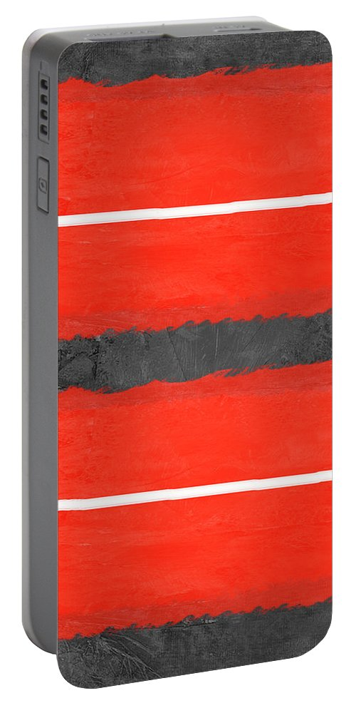 Abstract Portable Battery Charger featuring the painting Grey And Red Abstract IIi by Naxart Studio