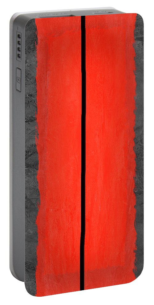 Abstract Portable Battery Charger featuring the painting Grey And Red Abstract V by Naxart Studio