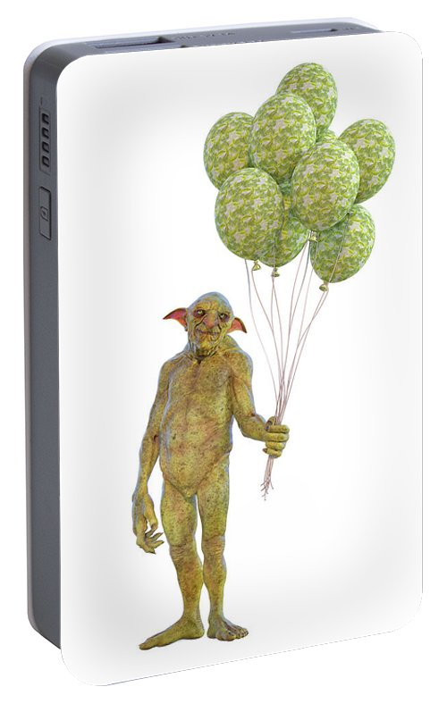 Grumpy Portable Battery Charger featuring the digital art Grumpy Troll Smiling Peace Offering by Betsy Knapp