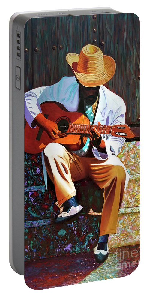 Cuban Portable Battery Charger featuring the painting Guitar player #3 by Jose Manuel Abraham